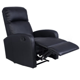 Lounger leather push-back recliner chair for home theater with heavy-duty steel mechanism and foam seating.
