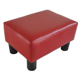 Modern red faux leather ottoman with thickly padded foam cushion top and four dark wood-finished feet.