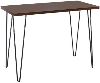 Modern wallnut writing desk with melamine veneer and powder coated metal pinhead legs.