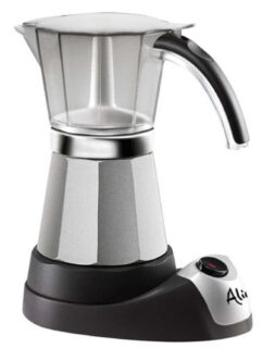 Moka espresso coffee maker with auto shut-off feature and cordless operation.
