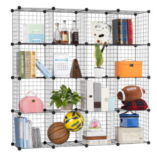 Modern metal wire multi-use bookcase with 16 regular cubes and can hold 44 lbs.
