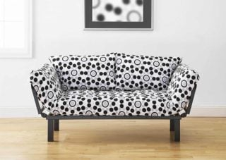A printed sofa that can transform either into a lounge or a bed.