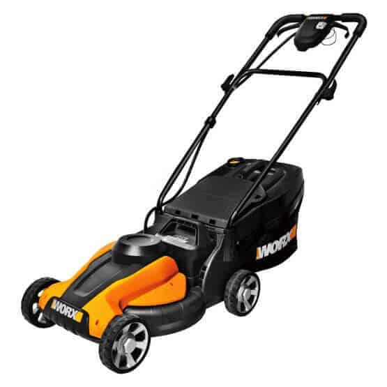 A lawn mower with an impressive battery and a cool interface that somehow resembles a race car.