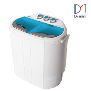 Portable compact washing machine and spin dryer with 6 pound wash capacity and twin tub function.