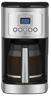 Programmable coffee maker with adjustable temperature control and self-clean function.