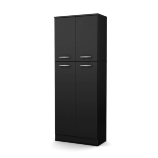 Pure black kitchen cabinet with small upper doors and large lower doors.