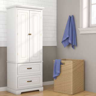 White bathroom cabinet with 2 adjustable shelves and 2 drawers.
