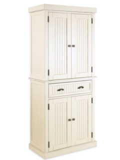 Pure white kitchen cabinet with antiqued brushed nickel finish and 4 removable and adjustable shelves.