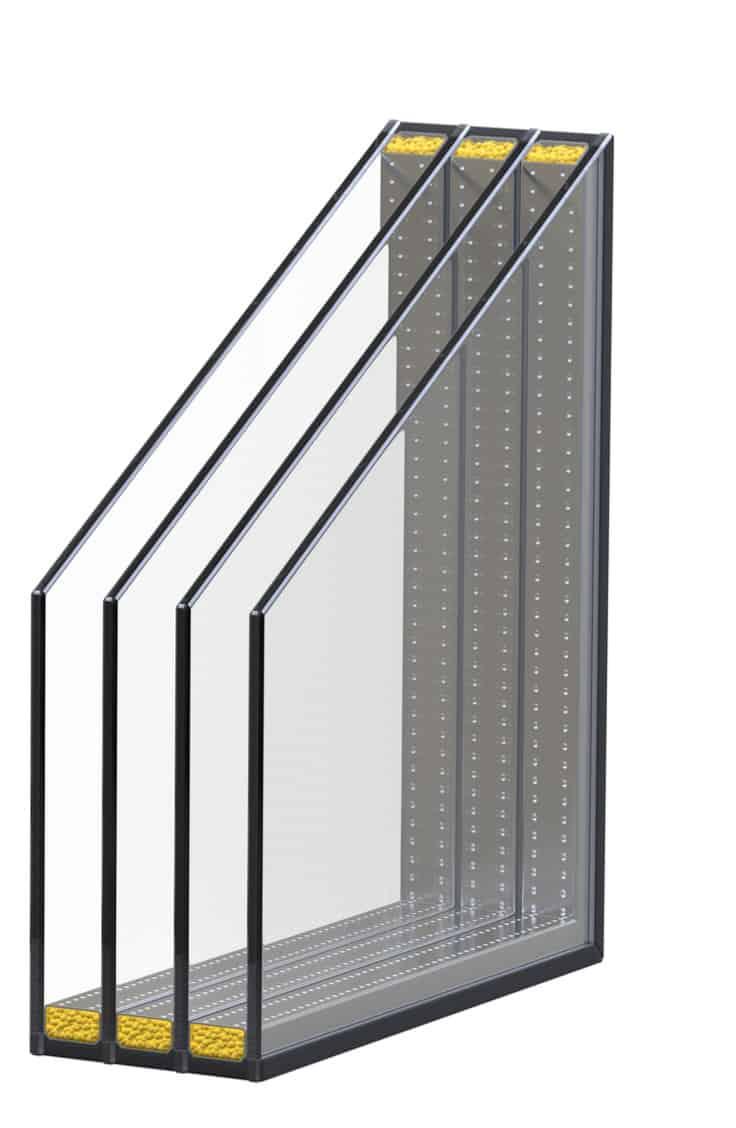 quadruple pane window cross-section illustration