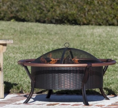 Fire Sense Rail Steel Wood Burning Fire Pit