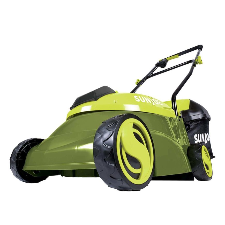 A cordless lawn mower with a rechargeable battery.