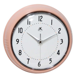 Retro pink round metal wall clock with convex glass lens and silent no ticking function.
