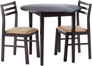 A dining set that comes with a round table and two padded chairs.