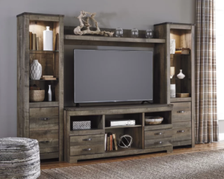 Rustic brown entertainment cabinet with 8 drawers and built-in lighting.