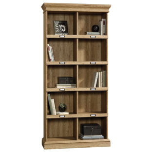 Laminated wood bookcase with scribed oak finish and cubbyhole storage.