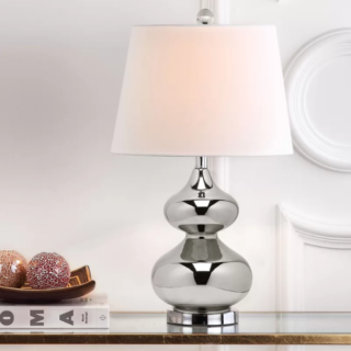Double gourd table lamp with drum shape design and silver base.
