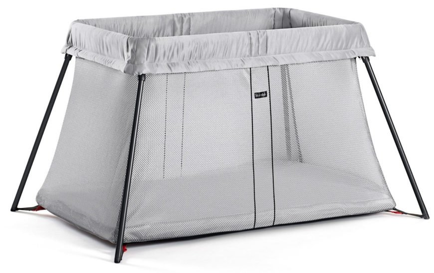Light travel crib with transparent silver mesh frabrics and gentle rocking movement function.
