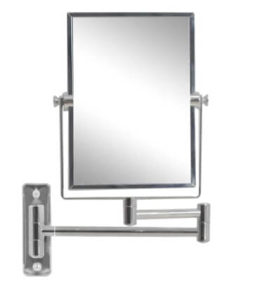 A foldable mirror with a thick, silver frame.