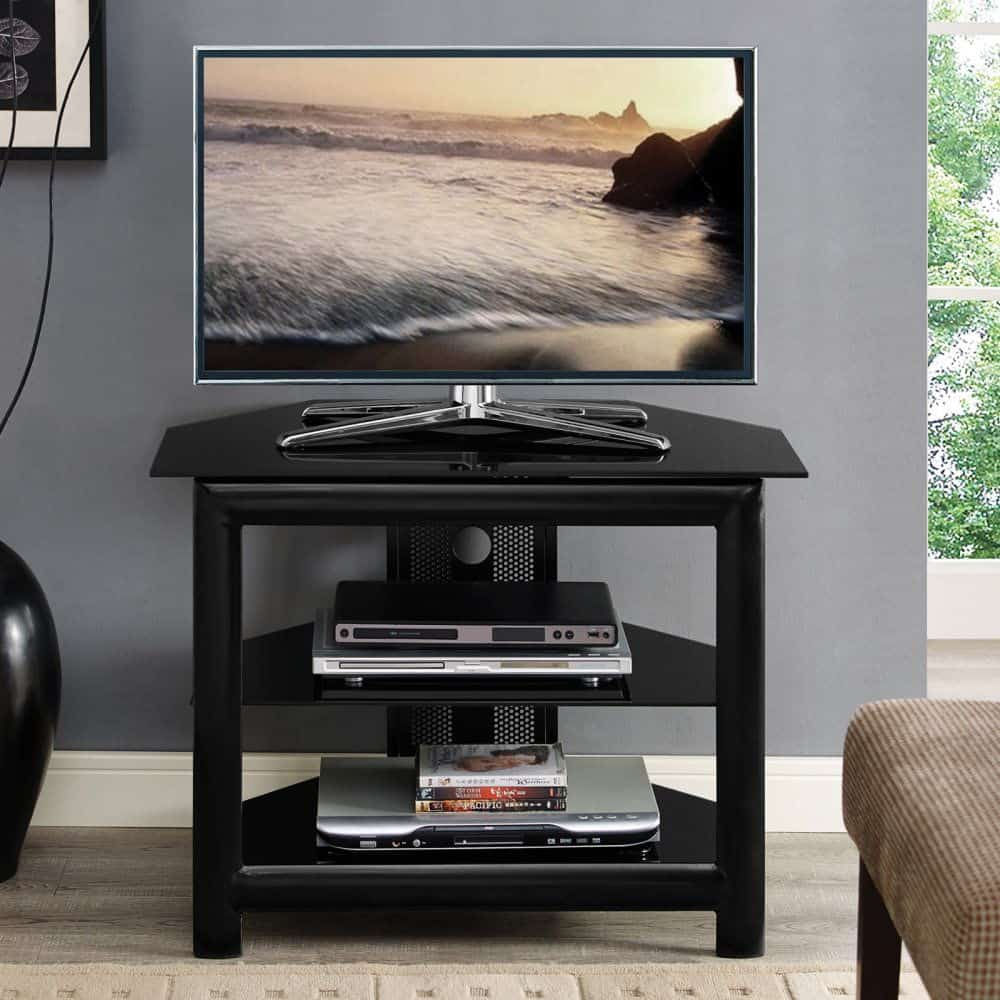 Sleek black glass top TV stand with matching shelves and cable management on back.