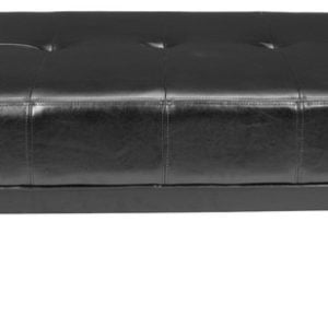 Small transitional ottoman with black color and bicastleather material.