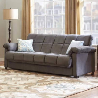 Convertible sofa with a soft and smooth finish.