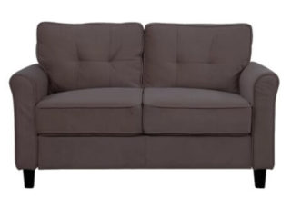 A loveseat in a classic design with chunky and sturdy cushions.