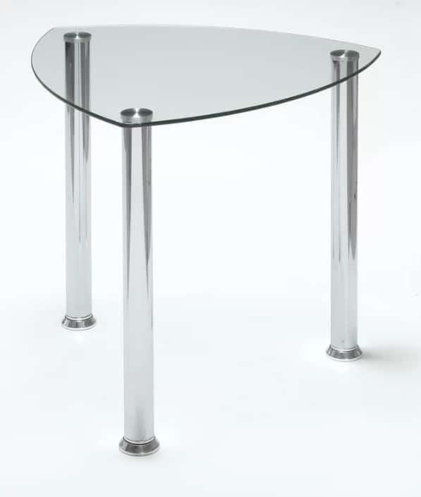 Small Contemporary Glass Corner Table.
