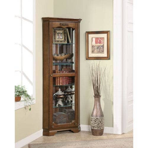 Narrow corner curio cabinet