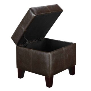 Small espresso ottoman with lift up top function and faux leather upholstery.