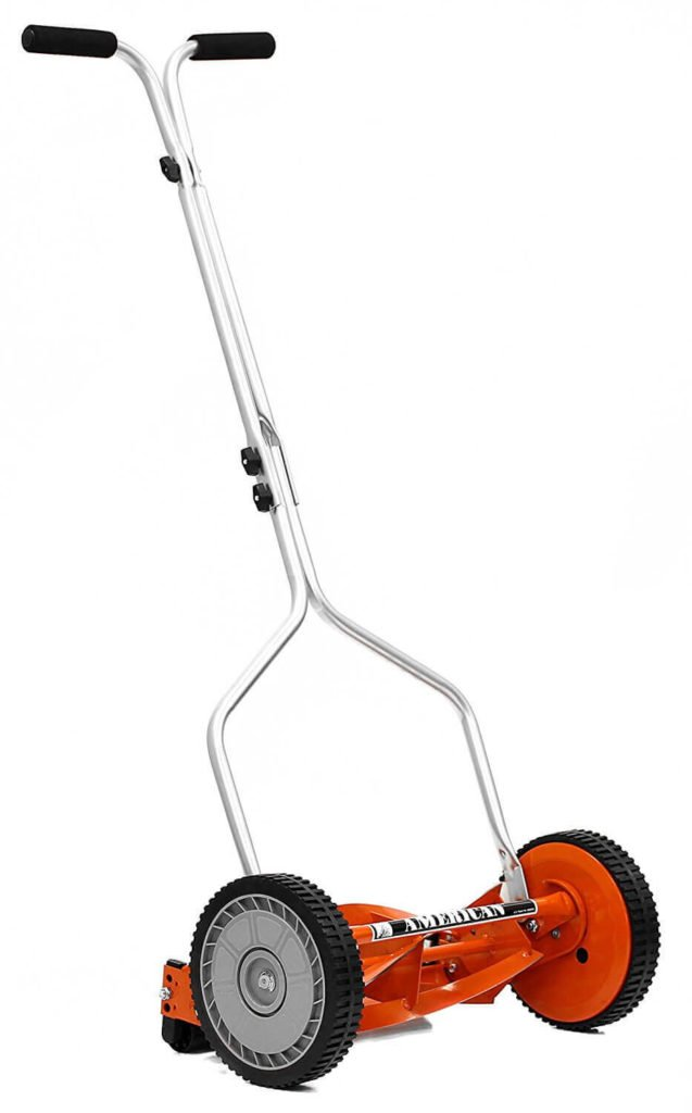Lawn mower with push reel motor that does not require fuel to function.