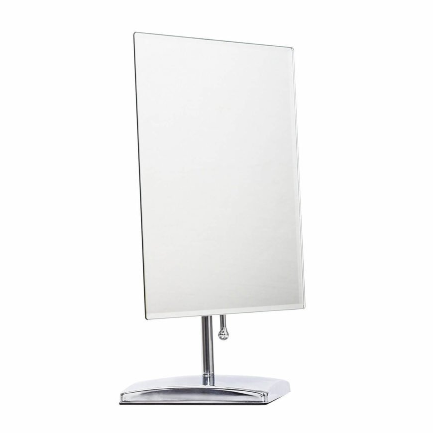 A rectangular mirror with a stand, ideal for your vanity desk.
