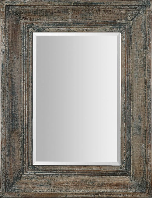 Rectangular mirror with wooden frame in a nostalgic, vintage style.