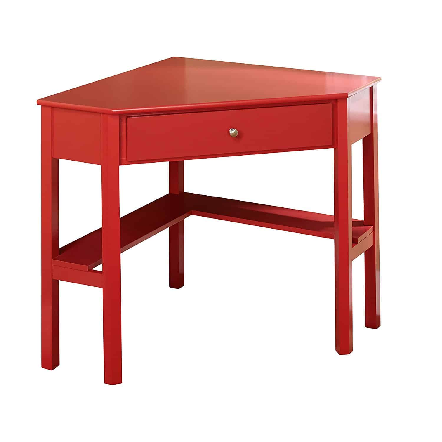 Small Red Corner Table With One Drawer And One Storage Shelf.
