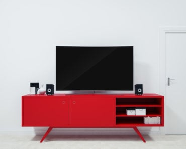 Small red TV stand