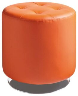 Contemporary orange swivel ottoman made with faux leather and tufted top feature.