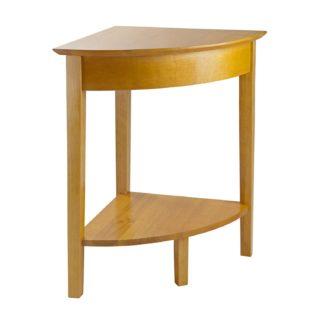 Small wood corner desk with shelf.