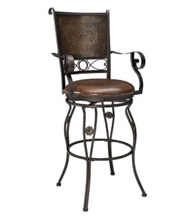 Bar stool with stamped back and arm rest with swivel seat.