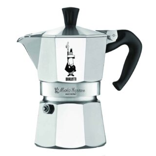 Stovetop espresso maker with patented valve in polished aluminum octagon shape.