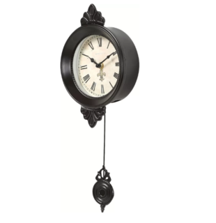 Stylish parisian-inspired wall clock with gold-hued hanging pendulum and an elegant fleur-de-lis detail.
