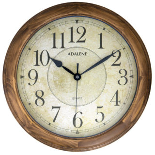 Stylish round wall clock with silent non-ticking feature along with classic arabic numerals.