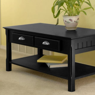 A wooden coffee table in a charcoal black finish.