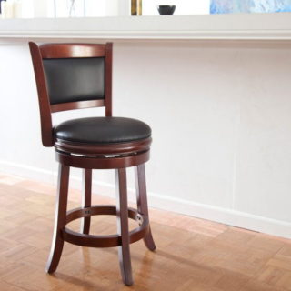 Swivel counter stool with high-density foam seat and backrest.