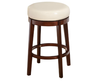 Swivel round stool with espresso finish frame and white faux leather seat.