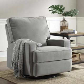 Swivel reclining glider with polyester blend upholstery material and foam seat cushion.