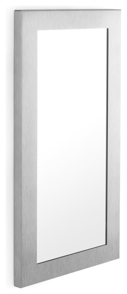 A small and simple rectangular mirror that doesn't need a certain style of interior to fit in.