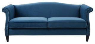 Two-cushion sofa with a flattering teal color in a beautiful satin finish.