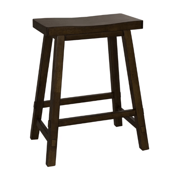 Tobacco finish bar stool with saddle seat and selected hardwood materials.