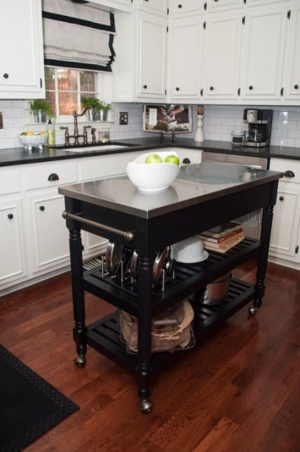 Traditional kitchen with white cabinets and island stainless  steel top Roman shade Source Wayfair 399 Kitchen Island Ideas 2018
