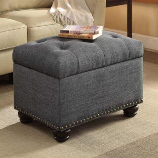 Storage ottoman with nailhead trim design.