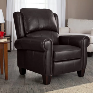 Traditional wingback recliner chair with push-back feature and rich chocolate leather.